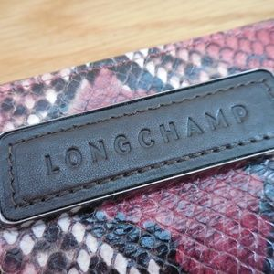 Longchamp Bags - $195~LONGCHAMP~Snakeskin Zip Around Logo Wallet